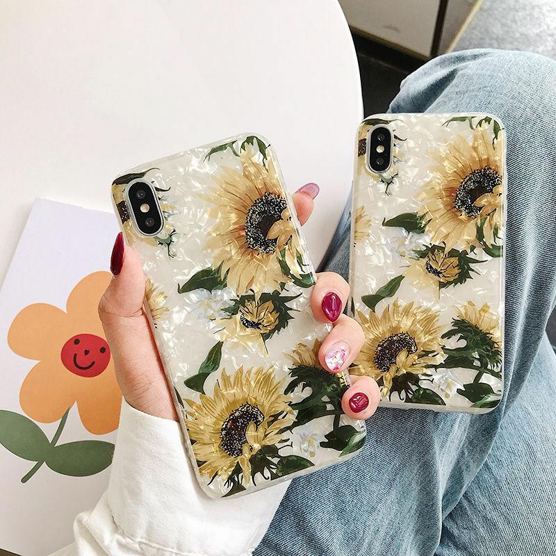 【お取り寄せ商品、送料無料】ひまわり フラワー シェル ソフト iPhoneケース iPhone11
