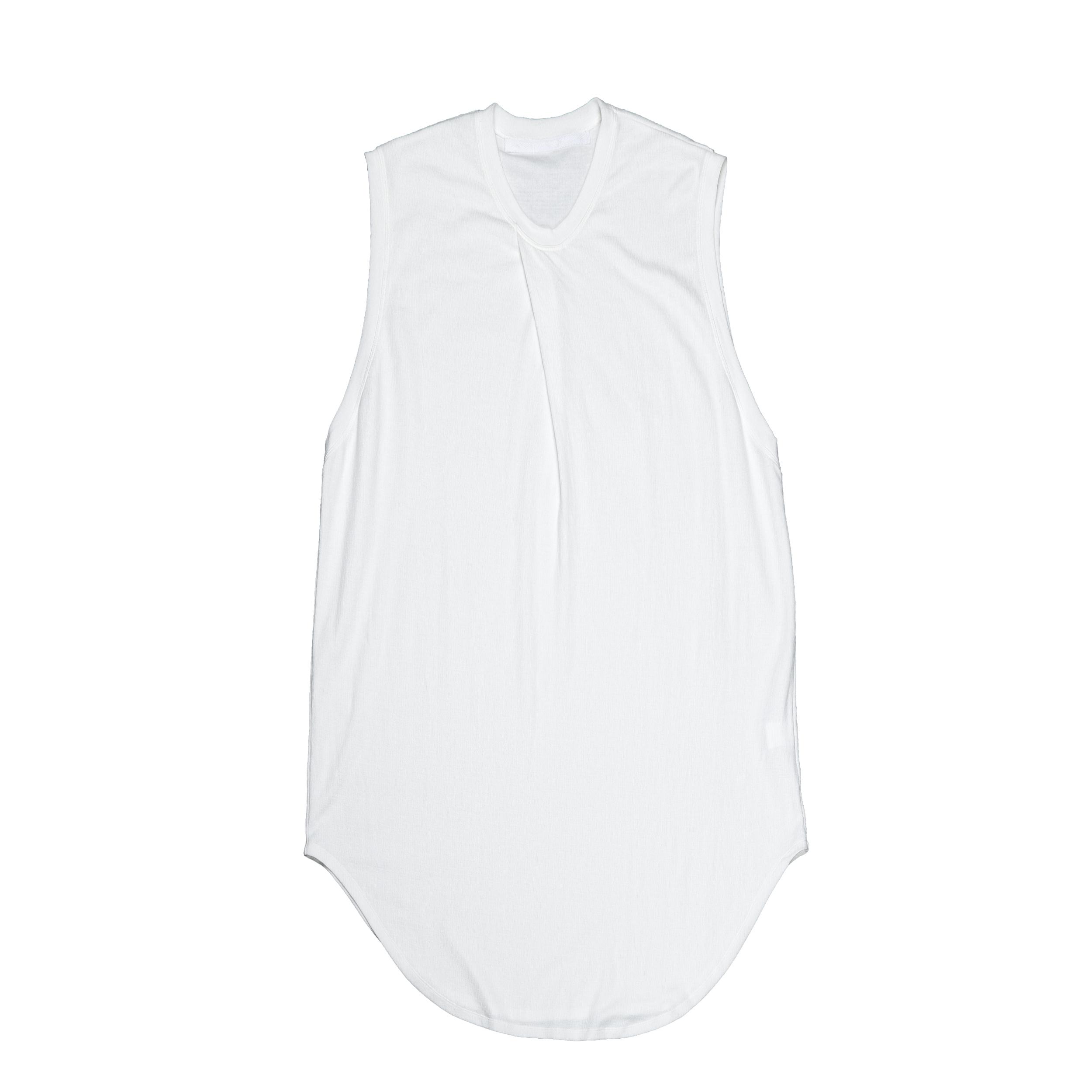 667CUM4-WHITE / タックドノースリーブシャツ