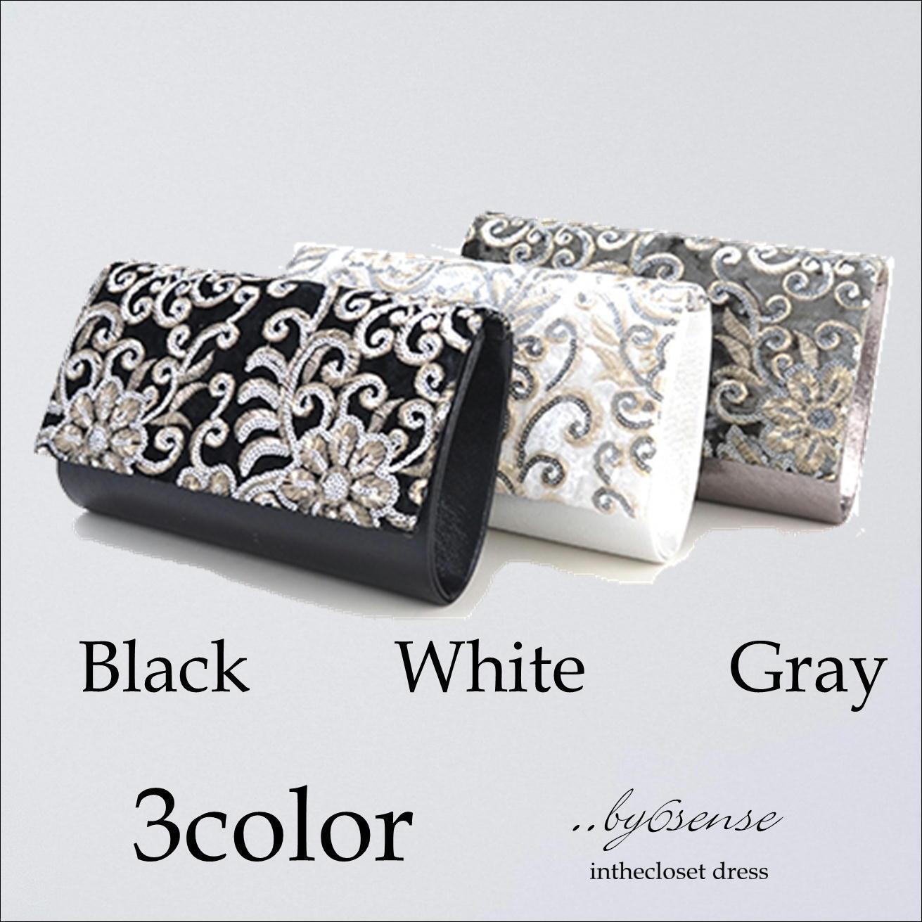 3color ベロア刺繍 パーティバック  浜松ドレスショップ..by6sense