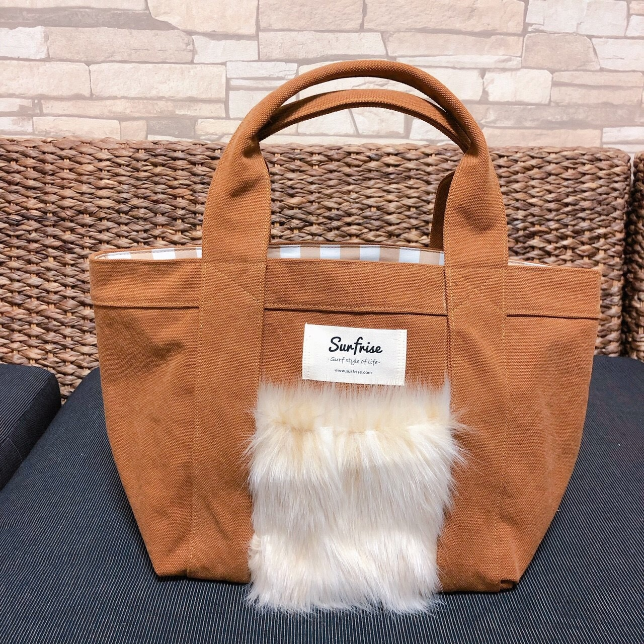 Fake fur Pocket Tote bag S - Camel