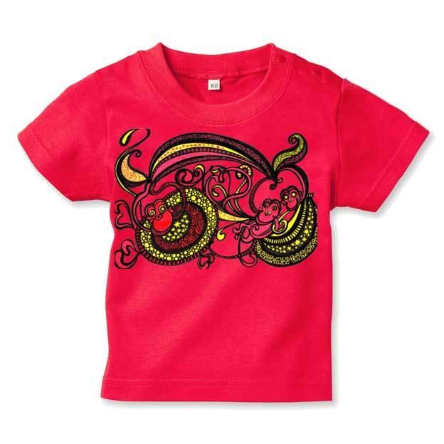 ◆キッズTシャツ 70.80.90サイズ対応◆ ハッピーモンキー レッド
