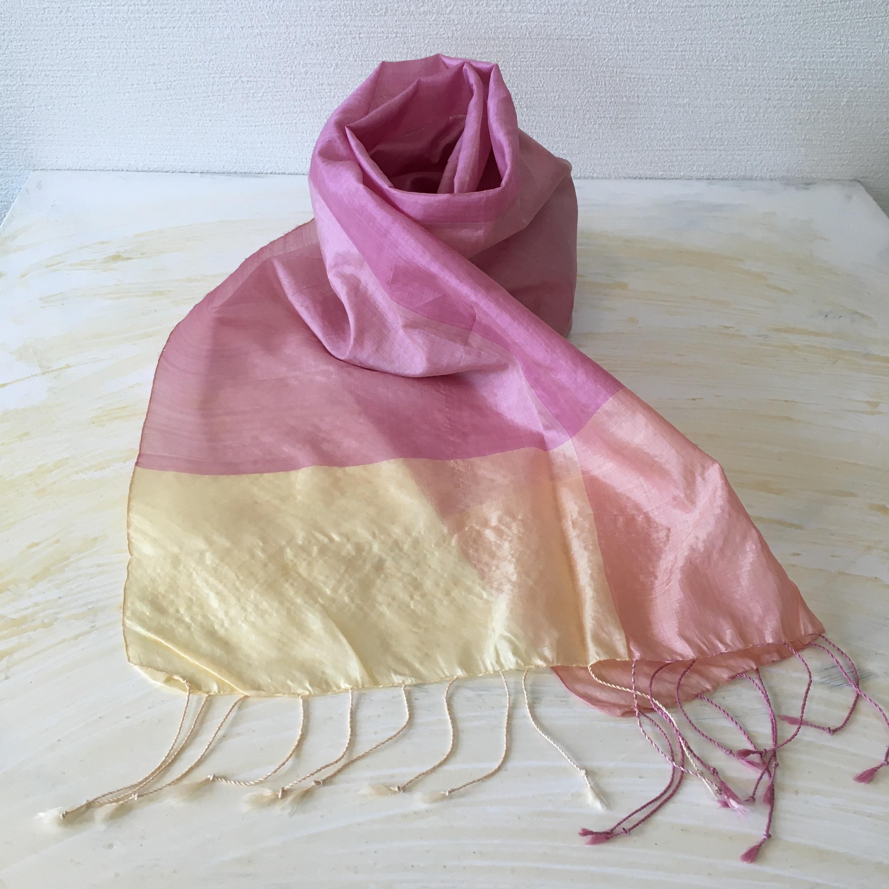ピンク×レモン カンボジアシルクショール