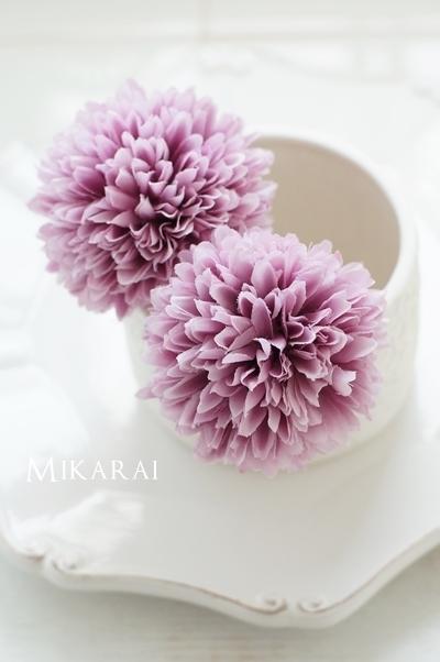 浴衣や和装に!大きめでフワフワなマム(菊)髪飾り2本セット【ラベンダー】 [HP01]