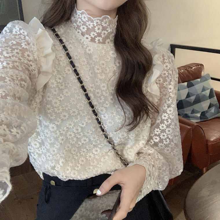 【送料無料】 大人ガーリー♡ 大人可愛い 花柄 刺繍 フリル ハイネック ブラウス シャツ 透け感 トップス