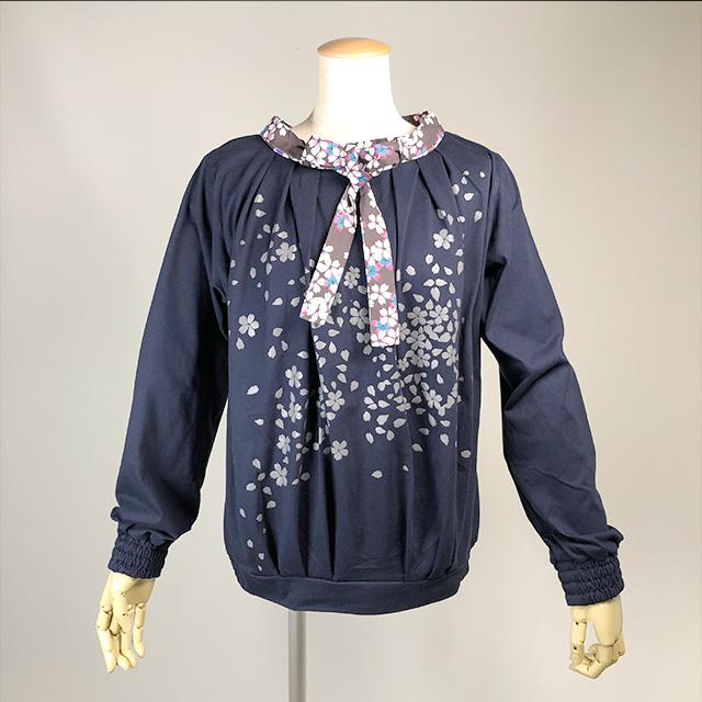 ネクタイ付き桜プリントTシャツ/NV-BK/GGD25-T002