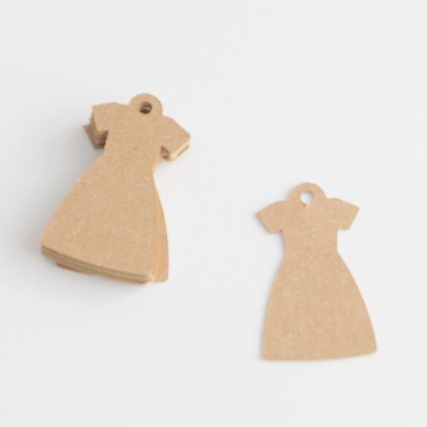 ワンピースの形のタグ 20枚入 クラフト(茶色)