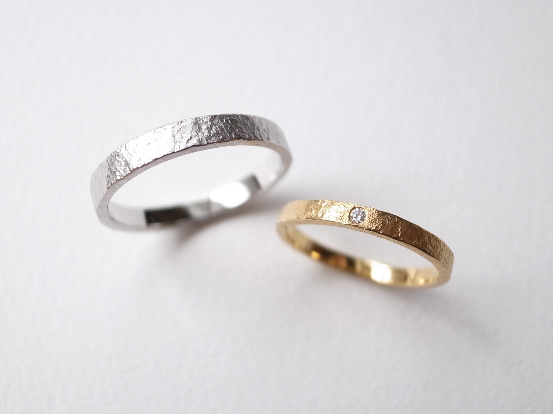 【pairing・stamp】K18YG Diamond・silver950/stone texture ring