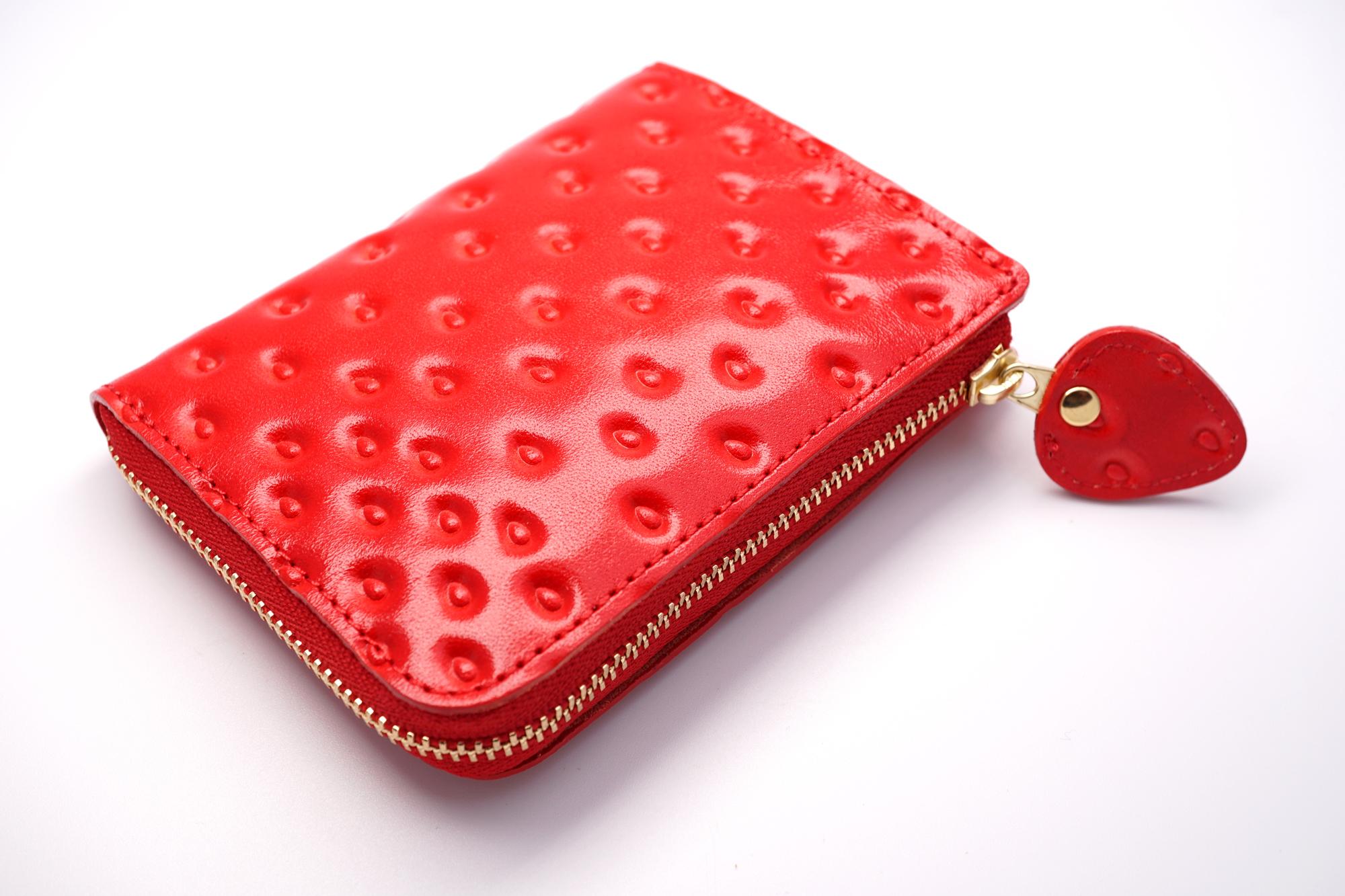 薄型!いちごなL字ファスナーミニ財布(牛革製)/「プチいちご」引き手タイプ
