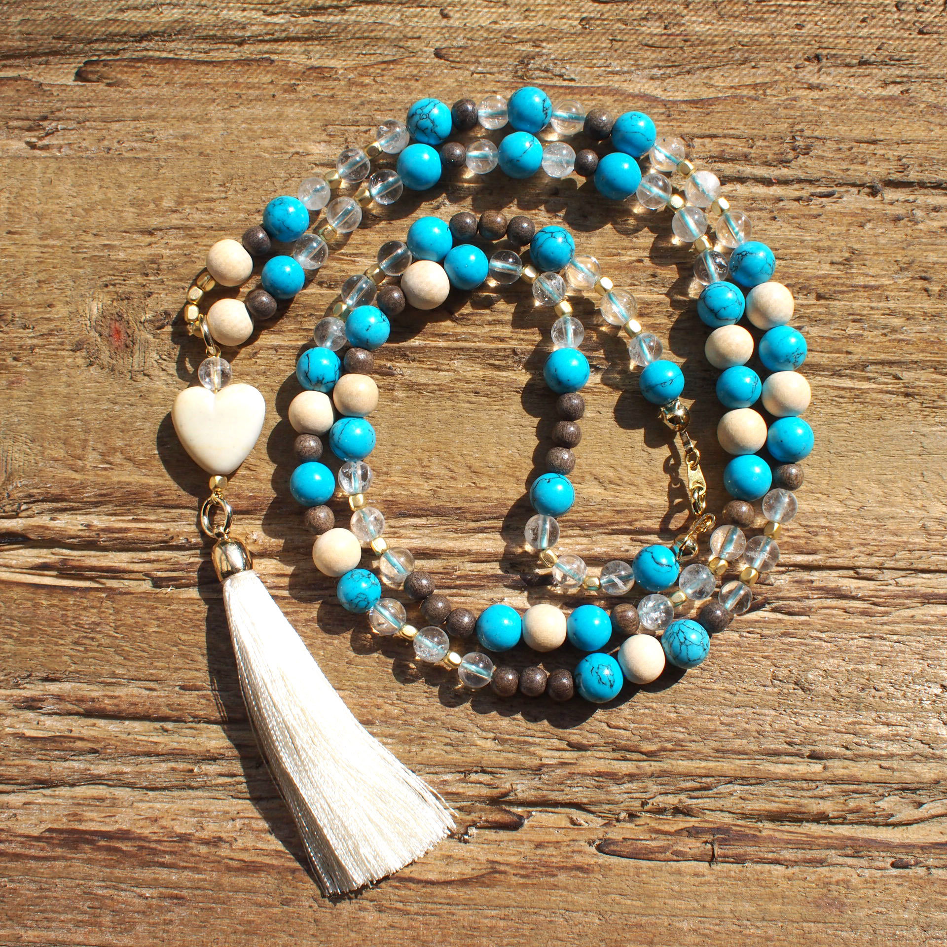 【Turquoise】×【Crystal】 Long Necklace
