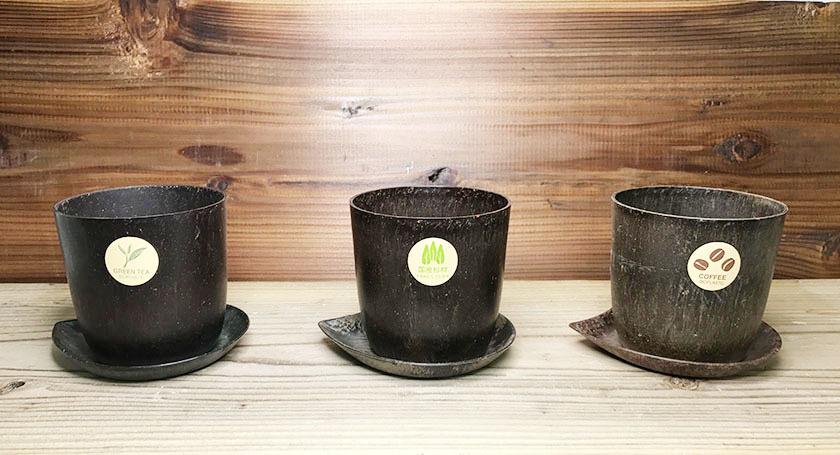 素材の香りで癒される エコロジー 植木鉢 ポンデエコ 3号用(杉・お茶・コーヒー 3種セット)