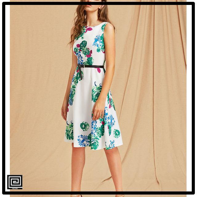 フラワープリントベルトラインドレス