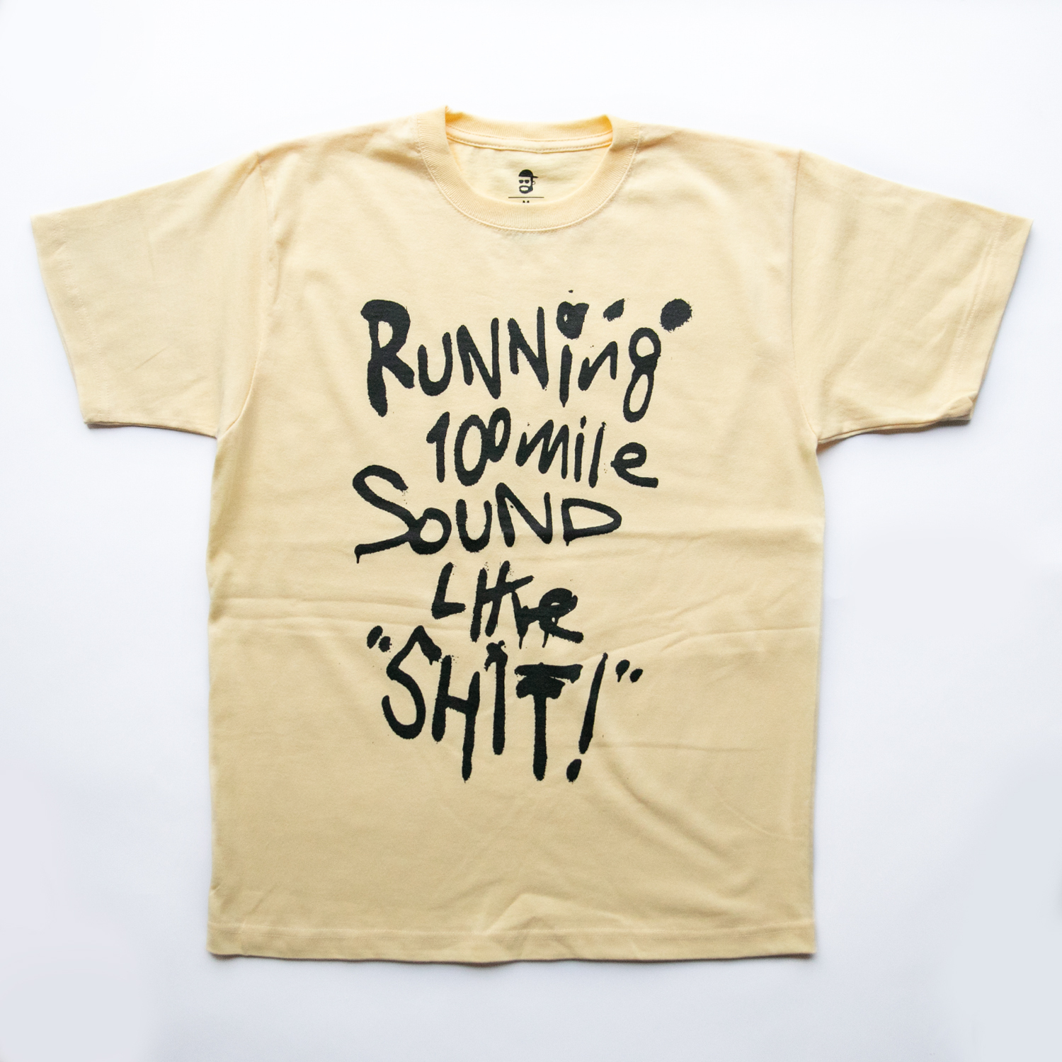 Running 100mile Sounds Like SHIT! t-shirt by RYUJI KAMIYAMA (YELLOW)