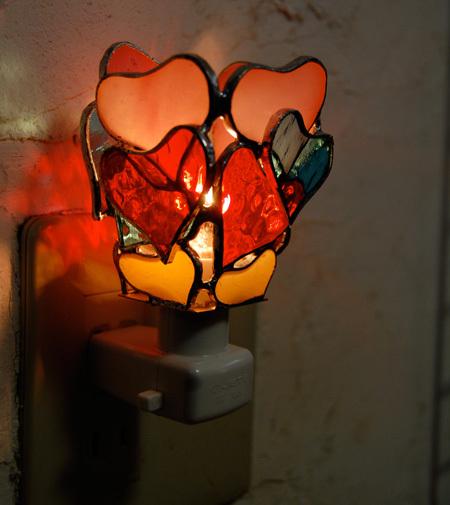 ハートフル(ステンドグラスのフットランプ)(コンセプトランプ) 01030011
