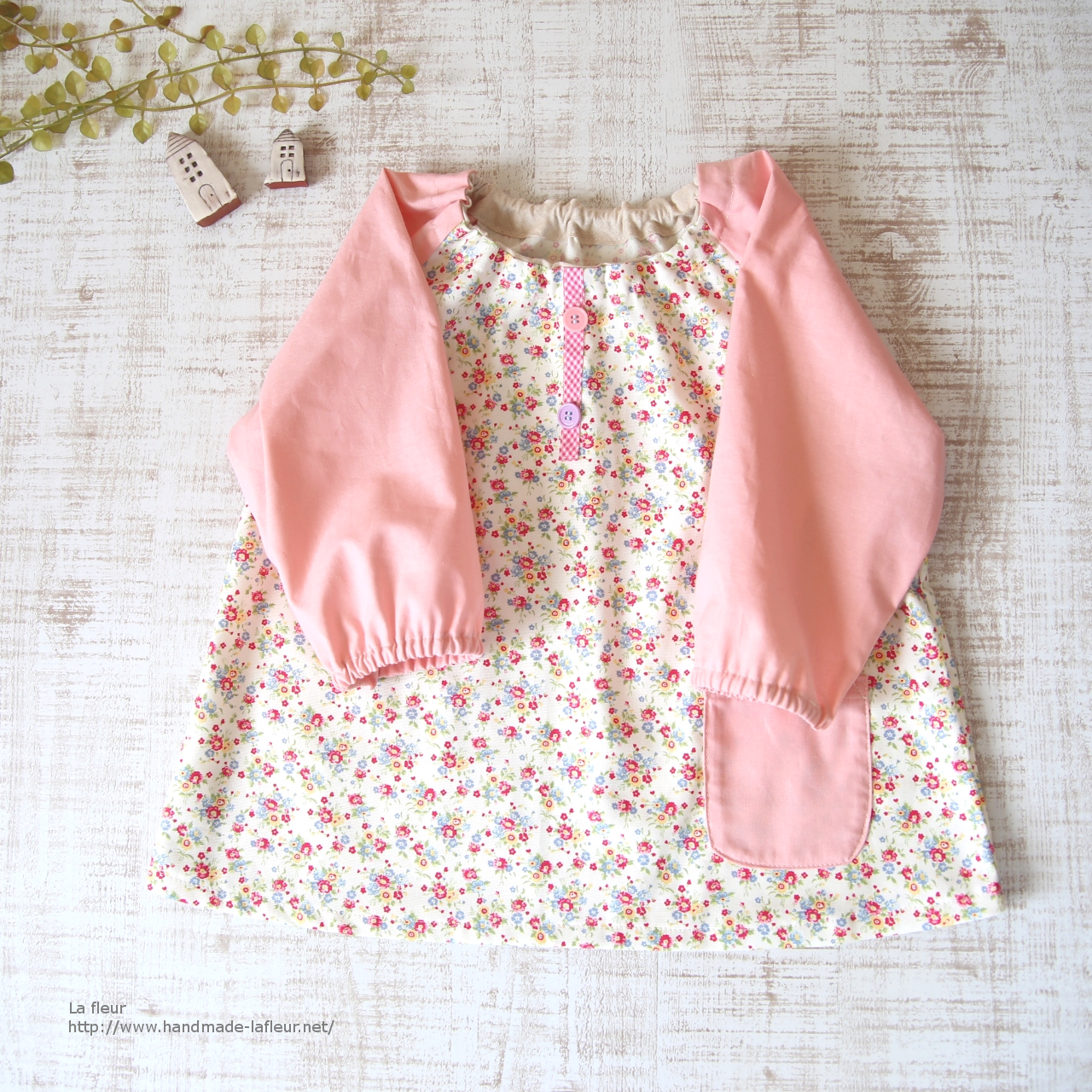 【85-95】スモック*花柄×ピンク 入園準備 女の子用/La fleur