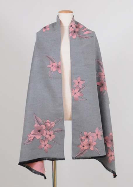 kikou スミレの模様を織り込んだ大判のストール UKD26-G508 GY/F