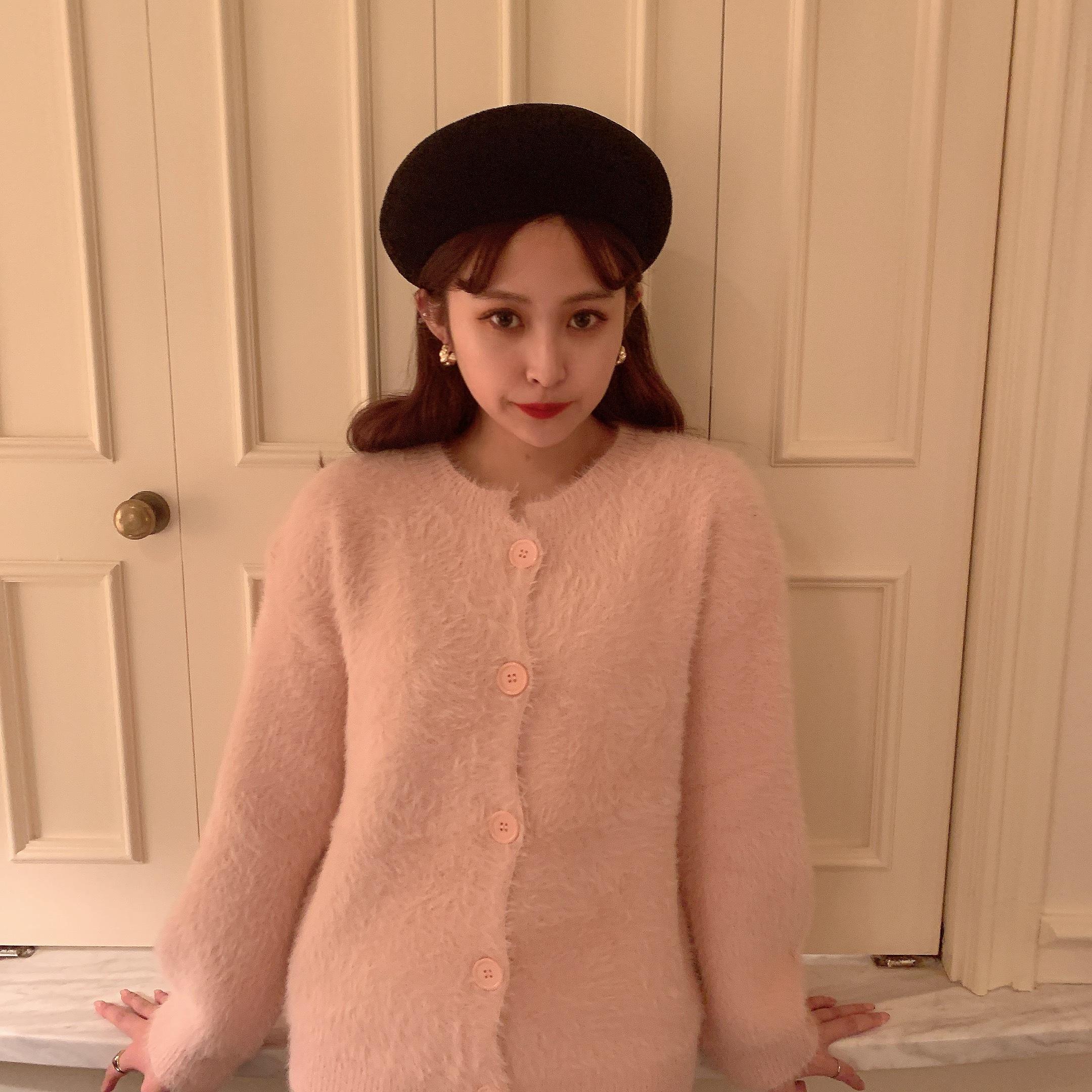fazzy knit cardigan