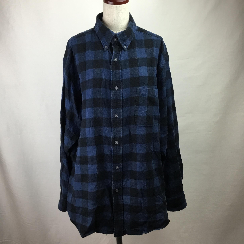 ヴィンテージフランネルブロックチェックシャツ(ネイビー)