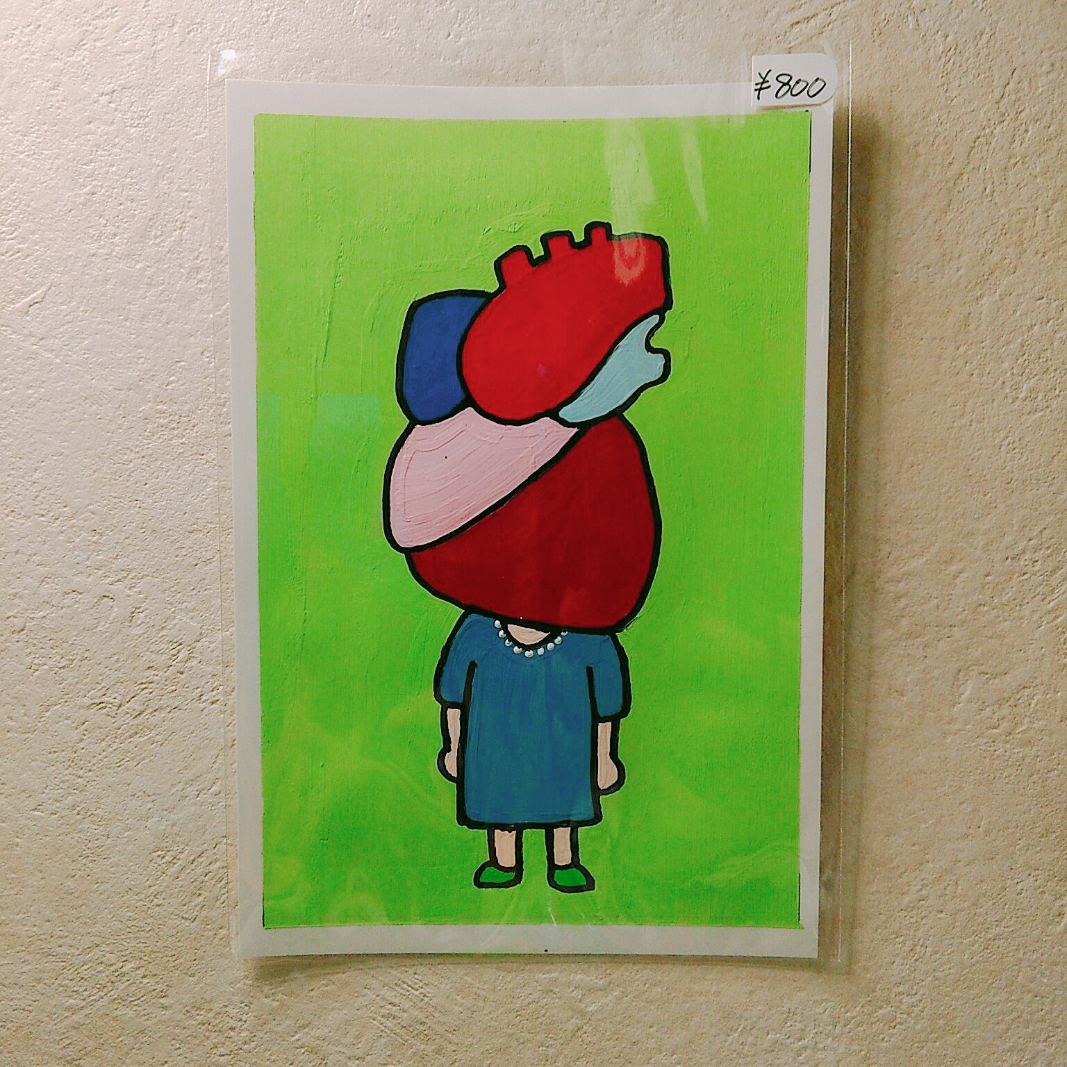 HEART HUMAN GIRL / 100mm×148mm / Acrylic painting / Original Drawing