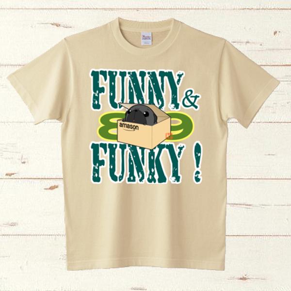 生地色・サイズ選べる!FUNNY&FUNKY!箱入り黒パグTシャツ
