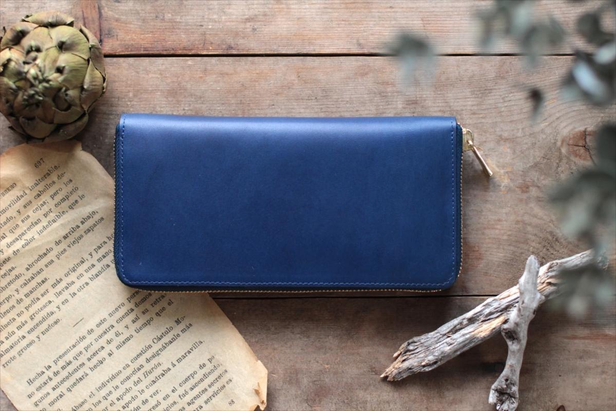 藍染革[migaki] 全藍 ラウンドファスナー長財布