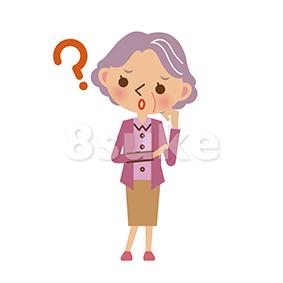 イラスト素材:困った表情のおばあちゃん(ベクター・JPG)