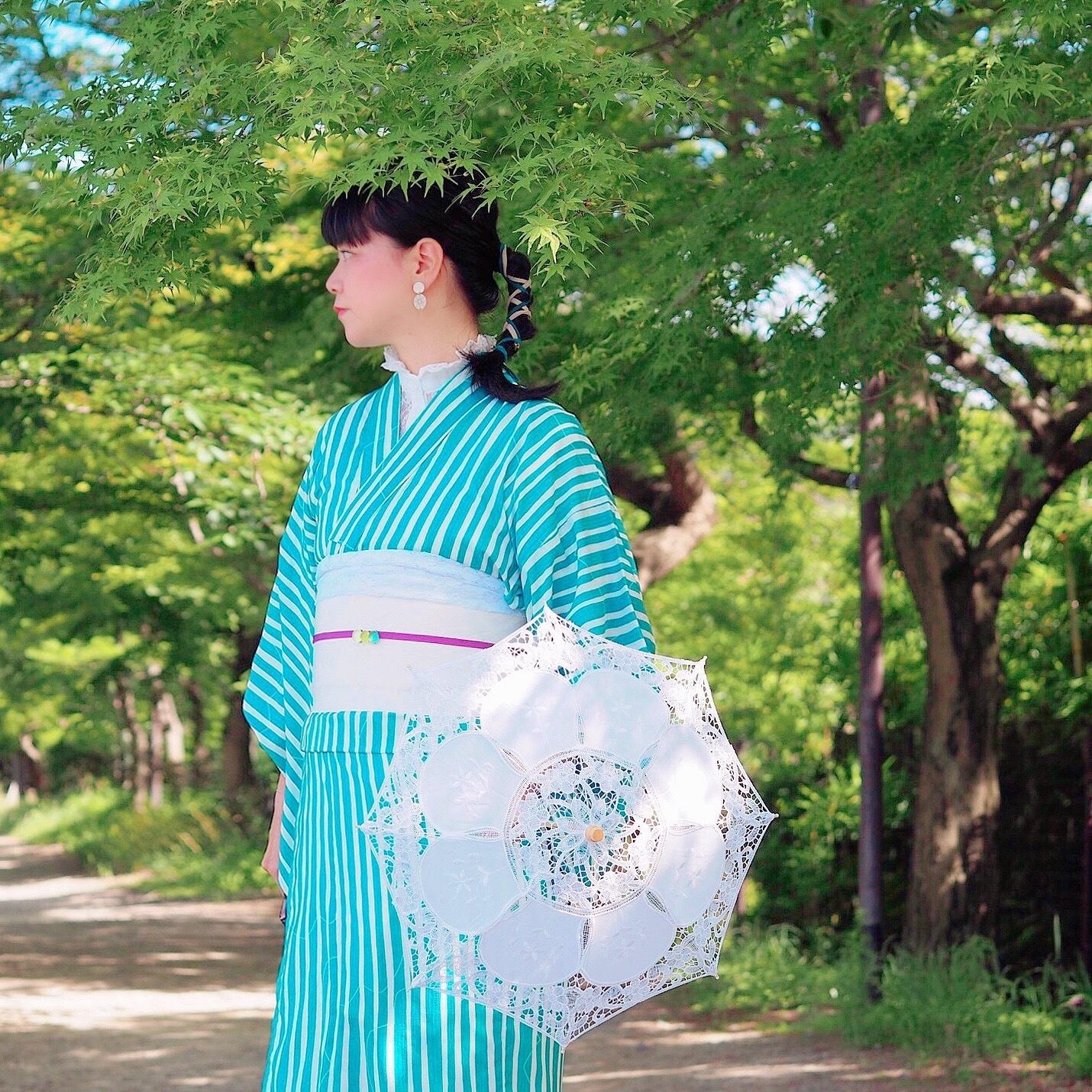 浴衣 レディース 単品 ポリエステル素材<エメラルドグリーン/ストライプ> Yukata