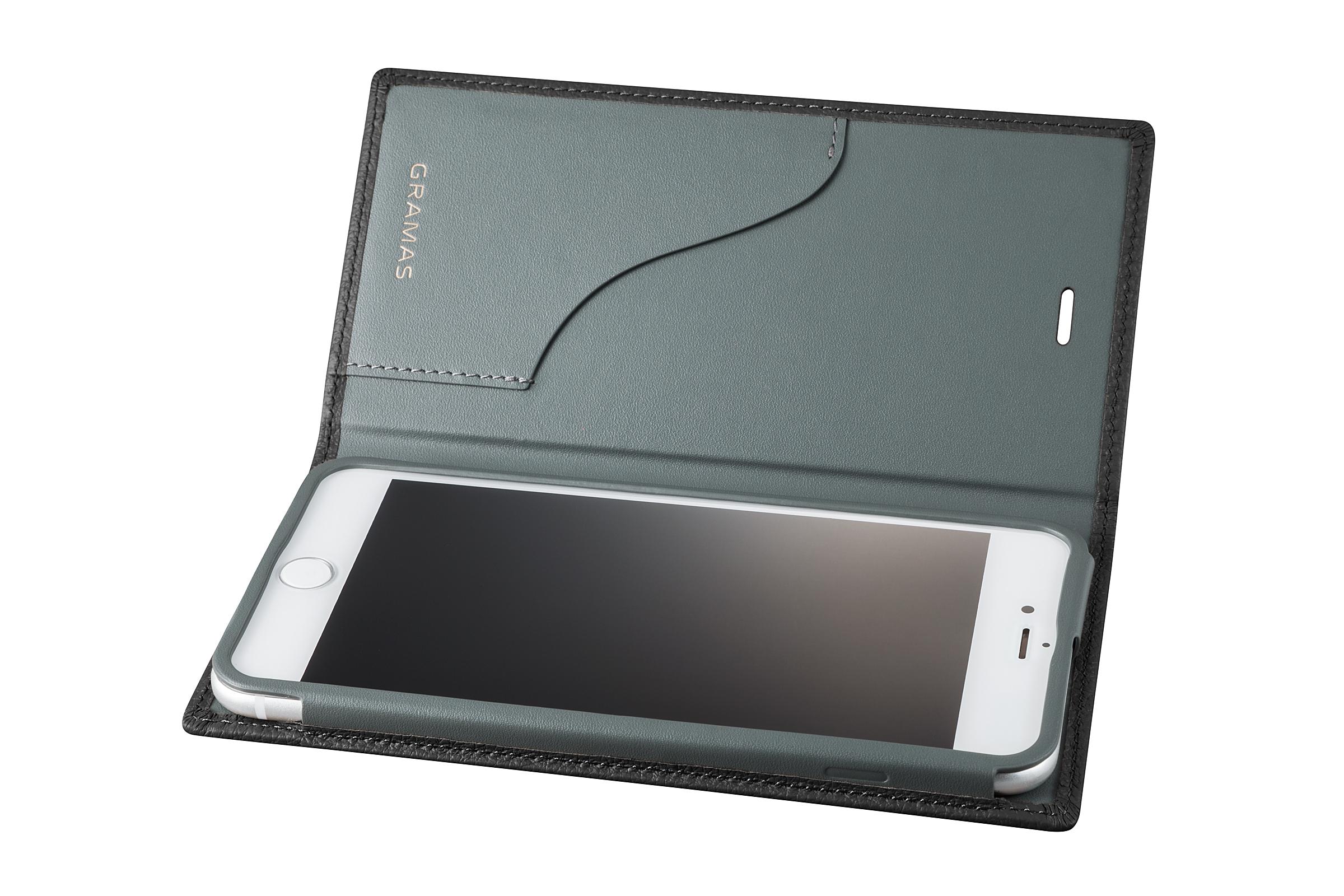 GRAMAS Shrunken-calf Full Leather Case for iPhone 7 Plus(Black) シュランケンカーフ 手帳型フルレザーケース - 画像3
