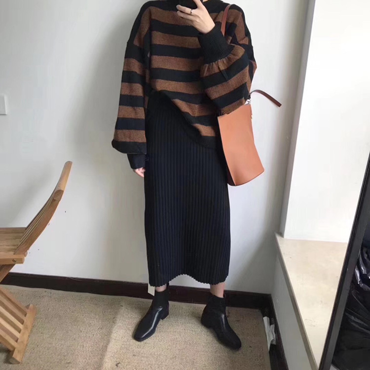 【送料無料】秋冬に大活躍♡シンプル ニットロング タイトスカート