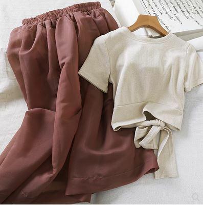 ツーピースセット 半袖Tシャツ リボン スカート ふんわり シンプル 無地 ゴムウエスト ソリッドカラー カジュアル デイリーユース アプリコット×ブラウン