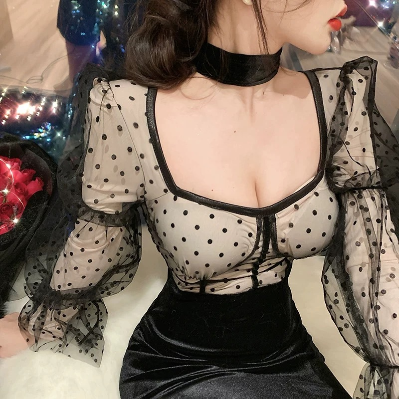 dot tight sexy dress