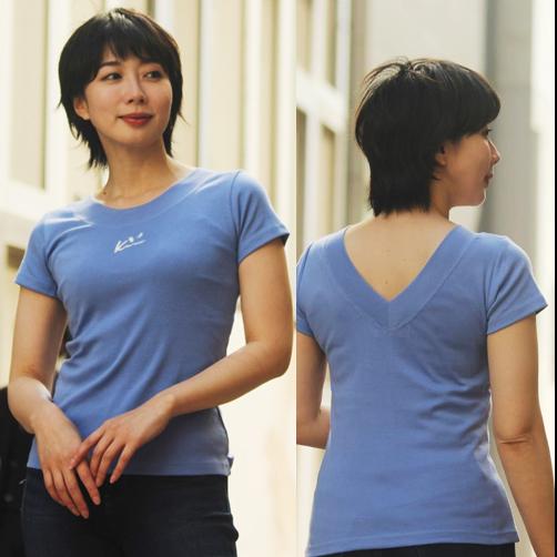 APPLE HOUSE 100%made in Japan. ソフトフィットでシルエットが綺麗なフレンチ袖後V襟Tシャツ(Kimiワンポイント刺繍) No.134288