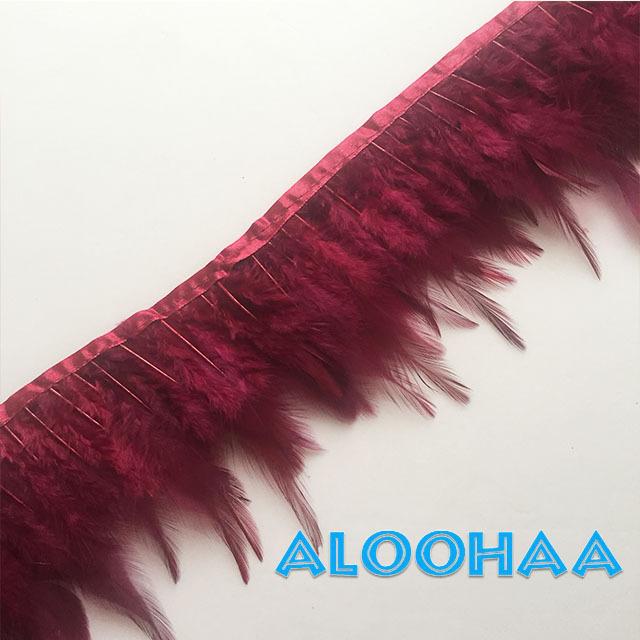 フェザーロール【ワインレッド】単色10-15cm丈 1m DIY 羽 衣装材料 タヒチアン
