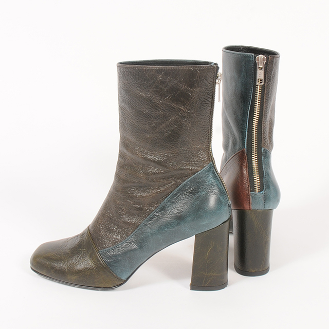 hs19AW-IRS03 LEATHER SHORT BOOTS -BK
