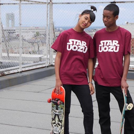 STAR UOZU Tシャツ バーガンディ×ホワイト