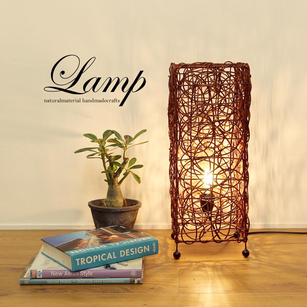 ■当日出荷■インテリア照明 神秘的な空間を作るラタンランプ [角柱ショートブラウン] L04 (ランプ、間接照明、籐)