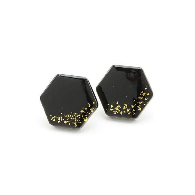 伝統工芸品 美濃焼 六角形 ブラック 星屑 ピアス&イヤリング