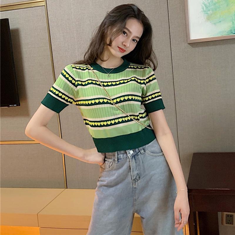 【tops】ストライプ柄ファッション配色Tシャツ22837486