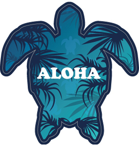 """064 ハワイの「海の守り神」""""California Market Center"""" アメリカンステッカー スーツケース シール"""