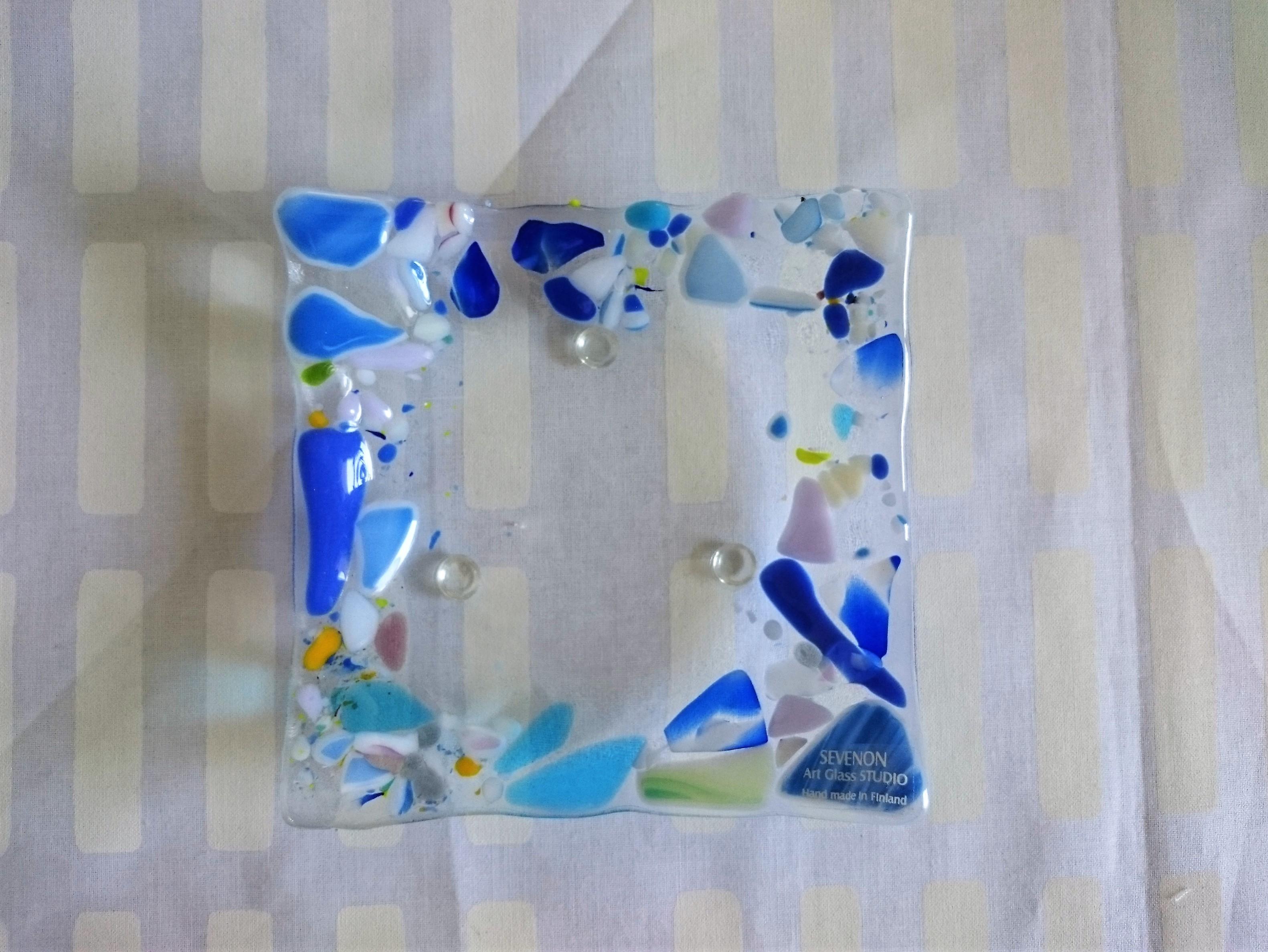 フィンランド製 ガラスデザインプレート  / SEVENON Art Glass STUDIO / 北欧の夏色