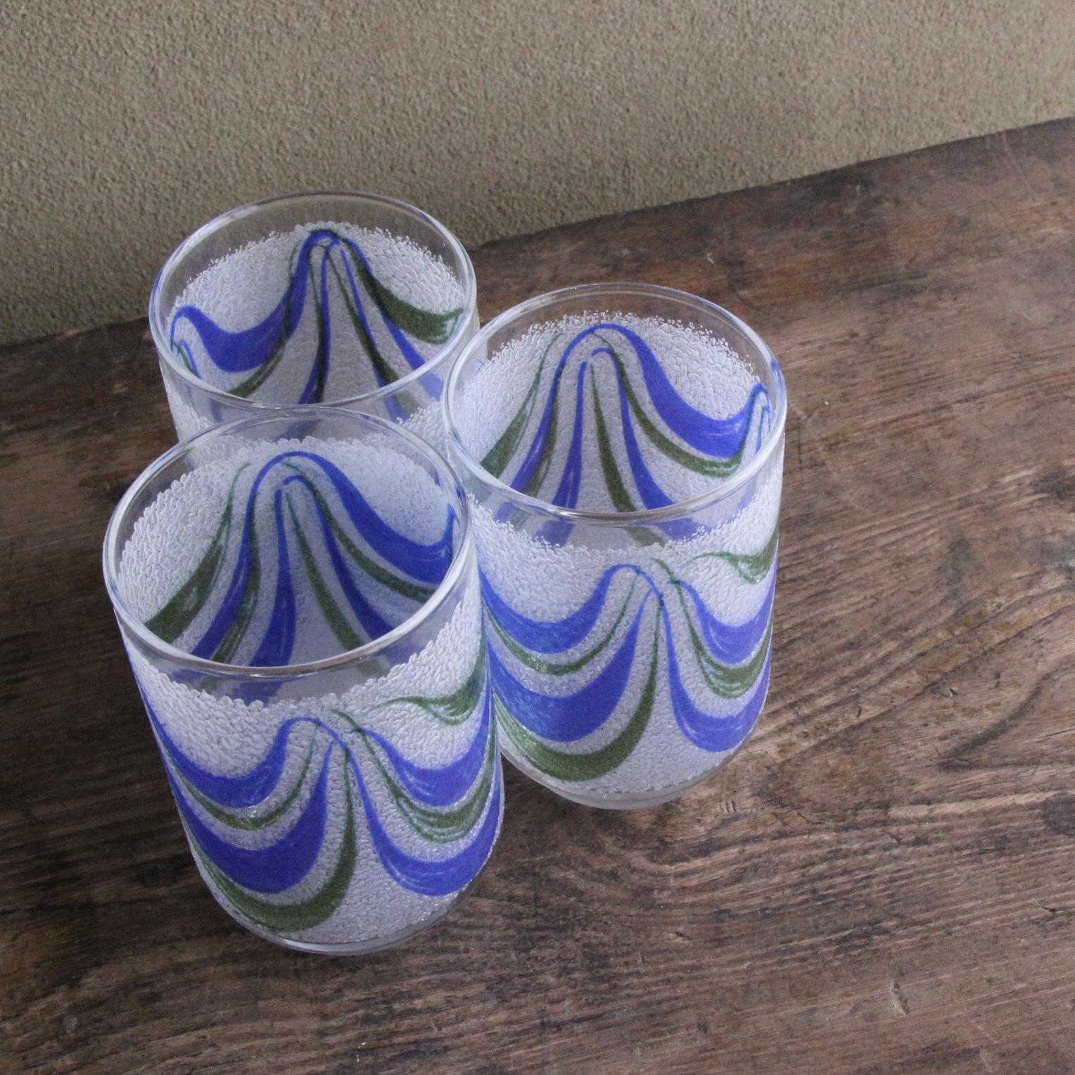 掻き上げ模様ガラスコップ 3客セット