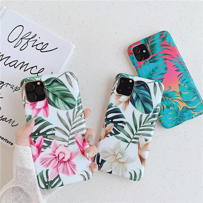 【お取り寄せ商品、送料無料】3タイプ 南国 花 リーフ ソフト iPhoneケース iPhone11
