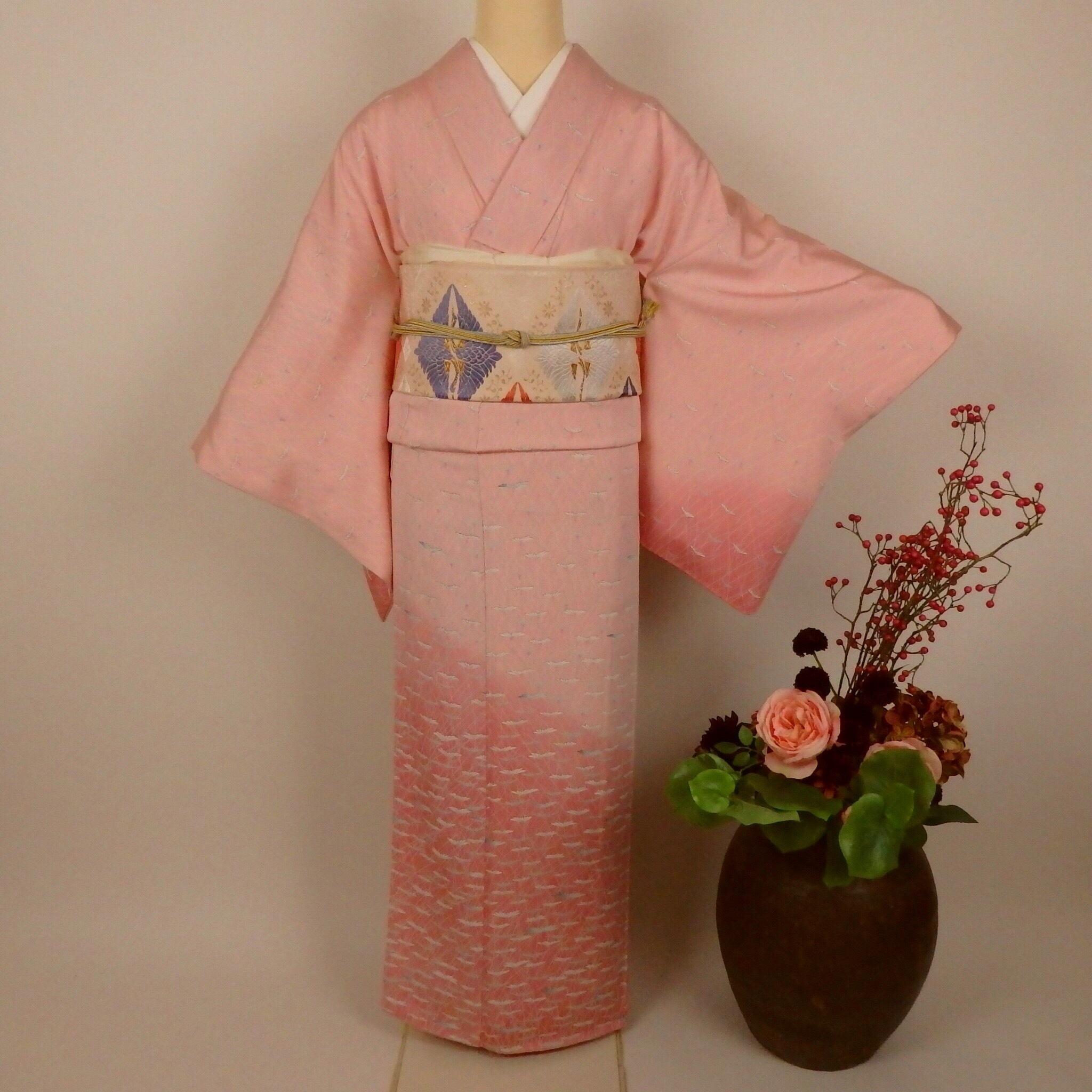 可愛いピンクの付け下げと西陣織袋帯4点セット834