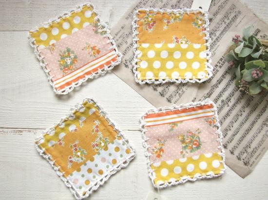 コースター*花柄・ストライプ・チェック オレンジ2/sakura
