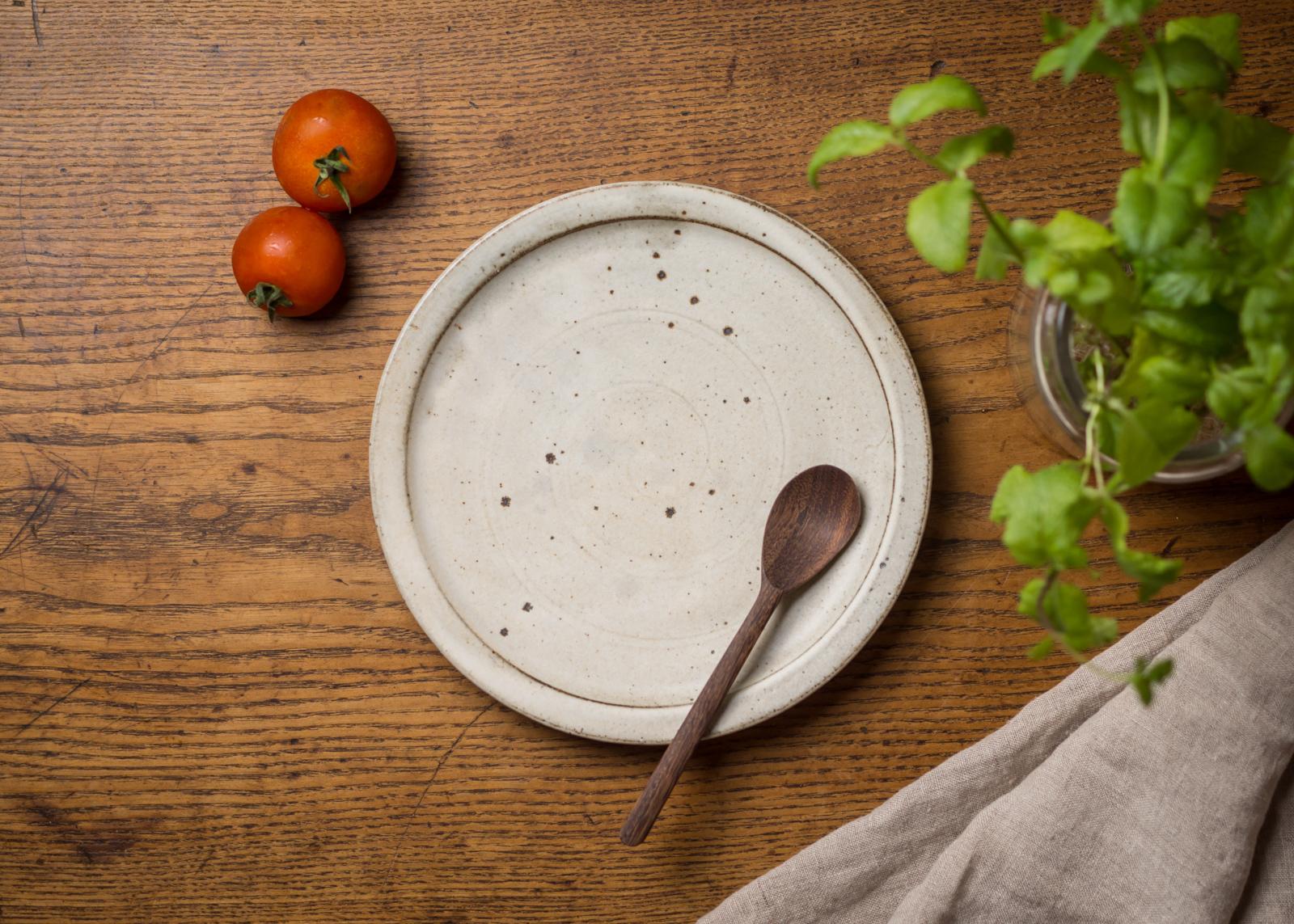 粉引き 7寸プレート(中皿・21cmプレート・デザート皿)/くるり窯