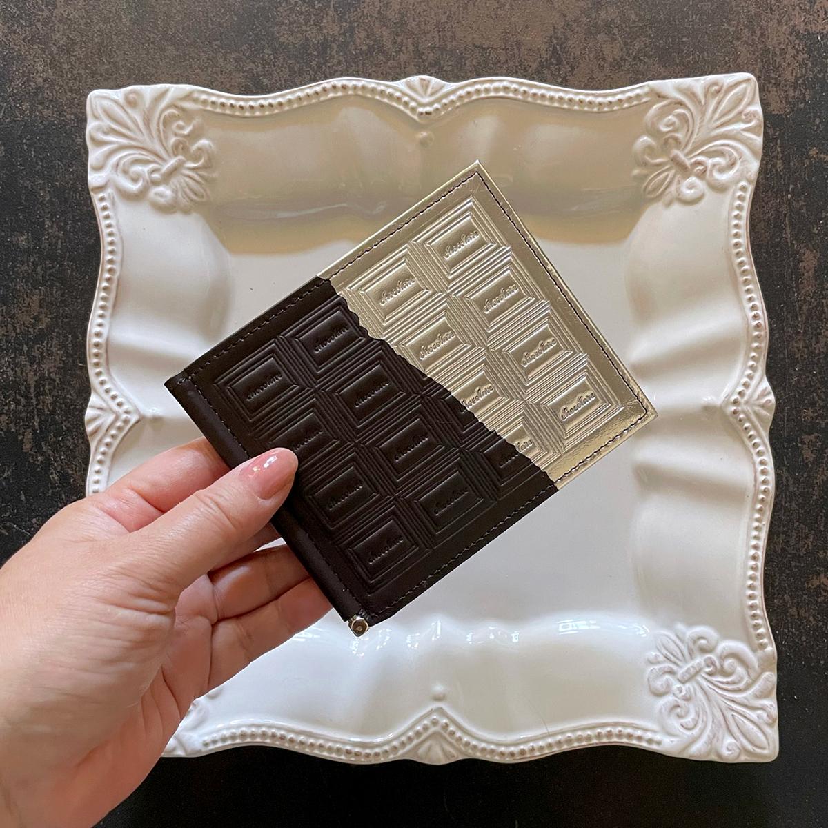 革のビターチョコ・札ばさみ(銀の包み紙)