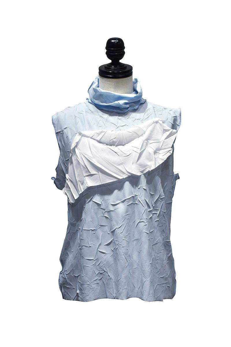 todo kotohayokozawa / crash top no sleeve, high neck / Blue