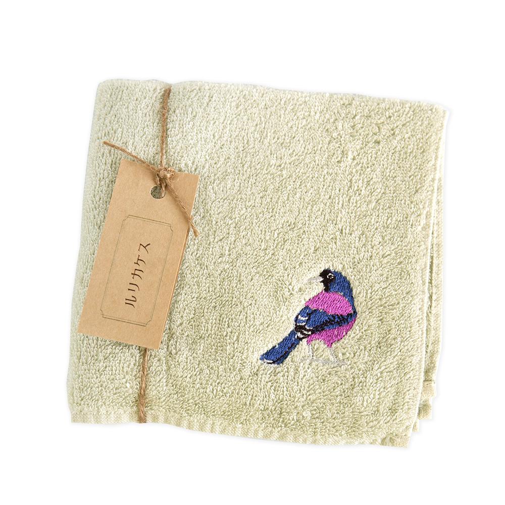 ルリカケス刺繍のタオルハンカチ 今治タオル