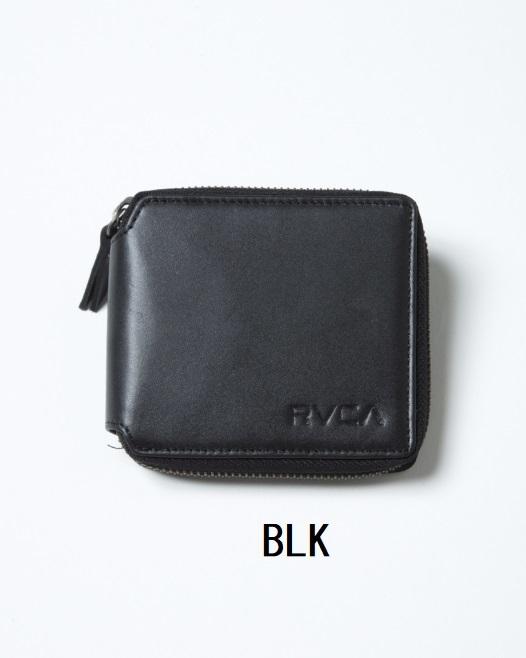 RVCA ルーカ メンズ ZIP AROUND WALLET ウォレット 財布 牛革 折り畳み お札入れ カード入れ 小銭入れ ジッパー