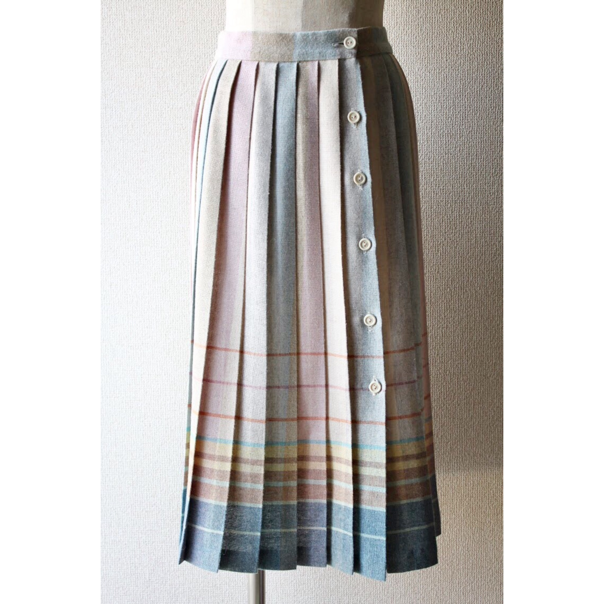 Vintage rainbow color pleated skirt
