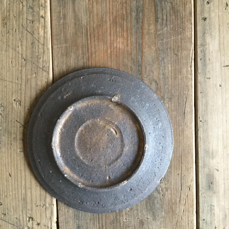【恵山・小林耶摩人】 4寸皿 黒釉 φ12cm - 画像3
